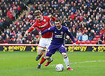 John Fleck of Sheffield Utd holds off Liam Lindsay of Barnsley during the championship match at the Oakwell Stadium, Barnsley. Picture date 7th April 2018. Picture credit should read: Simon Bellis/Sportimage