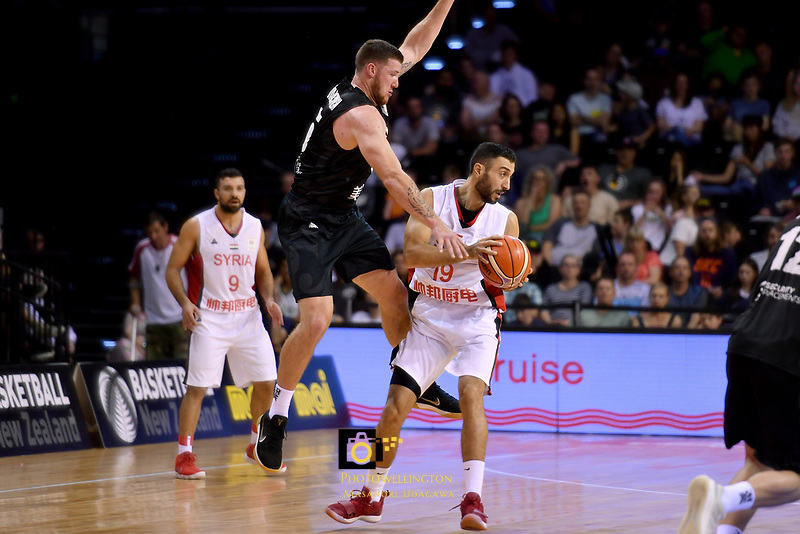 Syria&rsquo;s Ziab Alshawakh and New Zealand Tall Blacks&rsquo; Tom Vodanovich in action during the FIBA World Cup Basketball Qualifier - NZ Tall Blacks v Syria at TSB Bank Arena, Wellington, New Zealand on Sunday 2 2018. <br /> Photo by Masanori Udagawa. <br /> www.photowellington.photoshelter.com
