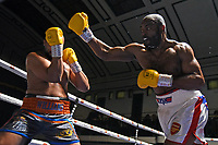 Dominic Akinlade (white shorts) defeats Phil Williams during a Boxing Show at York Hall on 15th February 2020