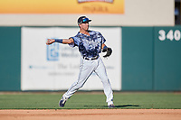 Lakeland Flying Tigers second baseman Kody Clemens (8) throws a runner out at first during a Florida State League game against the Dunedin Blue Jays on May 18, 2019 at Publix Field at Joker Marchant Stadium in Lakeland, Florida.  Dunedin defeated Lakeland 3-2 in eleven innings.  (Mike Janes/Four Seam Images)
