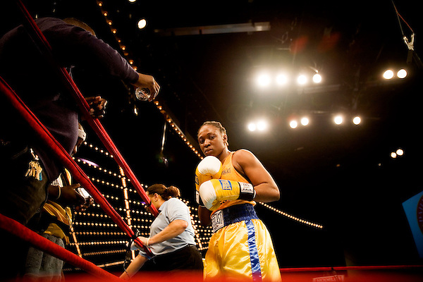 Defending champ and 2006 Golden Gloves champion in the 125 women's division, Ronica Jeffrey. .Friday was the second night of the finals of the  79th annual Golden Glove Boxing tournament. Boxers from all over the New York who made it through the previous rounds were on hand at Madison Square Garden to compete for the coveted Golden Gloves Champion title.
