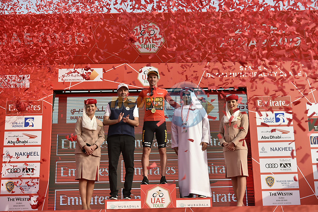 Race leader Primoz Roglic (SLO) Team Jumbo-Visma retains the Red Jersey at the end of Stage 4 of the 2019 UAE Tour, running 197km form The Pointe Palm Jumeirah to Hatta Dam, Dubai, United Arab Emirates. 26th February 2019.<br /> Picture: LaPresse/Fabio Ferrari | Cyclefile<br /> <br /> <br /> All photos usage must carry mandatory copyright credit (© Cyclefile | LaPresse/Fabio Ferrari)
