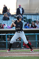 Colin Bray (3) of the Visalia Rawhide bats against the Lancaster JetHawks at The Hanger on May 7, 2016 in Lancaster, California. Lancaster defeated Visalia, 19-5. (Larry Goren/Four Seam Images)