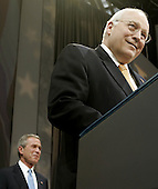 United States Vice President President Dick Cheney(R) introduces United States President George W. Bush during a victory rally at the Ronald Reagan Building, November 3, 2004 in Washington DC. After deciding not to contest the votes in the battleground state of Ohio, Democratic presidential candidate Sen. John Kerry (Democrat of Massachusetts) called President Bush to concede and congratulated him.     <br /> Credit: Mark Wilson / Pool via CNP
