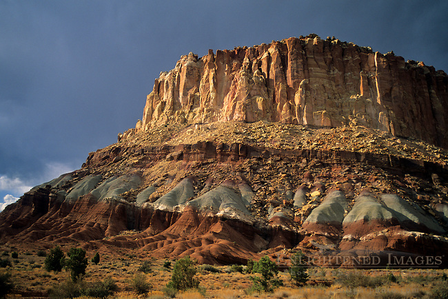 Afternoon light on cliffs at entrance to the Grand Wash, Capitol Reef National Park, UTAH