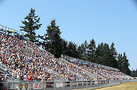 Aug. 3, 2014; Kent, WA, USA; NHRA fans in the grandstands during the Northwest Nationals at Pacific Raceways. Mandatory Credit: Mark J. Rebilas-