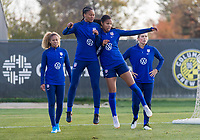 COLUMBUS, OH - NOVEMBER 3: Imani Dorsey #28 and Margaret Purce #30 of the United States go through a drill at Columbus Crew Training Facility on November 3, 2019 in Columbus, Ohio.