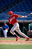 Philadelphia Phillies third baseman Alec Bohm (18) hits a single during a Florida Instructional League game against the Toronto Blue Jays on September 24, 2018 at Spectrum Field in Clearwater, Florida.  (Mike Janes/Four Seam Images)