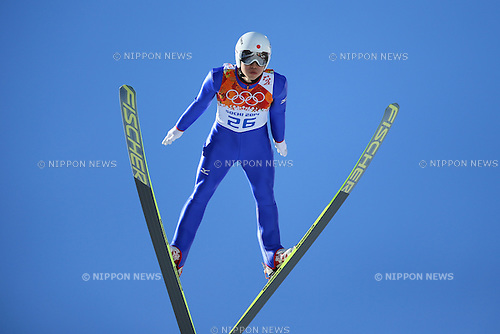Hideaki Nagai (JPN), <br /> FEBRUARY 12, 2014 - Nordic Combined : <br /> Individual Gundersen NH/10km traning session<br /> at &quot;RUSSKI GORKI&quot; Jumping Center <br /> during the Sochi 2014 Olympic Winter Games in Sochi, Russia. <br /> (Photo by Yohei Osada/AFLO SPORT)