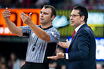 Kirolbet Baskonia coach Pedro Martinez talking with referee during Liga Endesa Finals match (4th game) between Real Madrid and Kirolbet Baskonia at Fernando Buesa Arena in Vitoria, Spain. June 13, 2018. (ALTERPHOTOS/Borja B.Hojas)