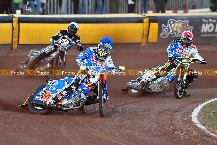 Heat 1 Brady Kurtz of Poole Pirates middle leads Chris Holder of Poole Pirates right and Andreas Jonsson of Lakeside Hammers during Poole Pirates vs Lakeside Hammers, Elite League Speedway at The Stadium on 6th April 2016