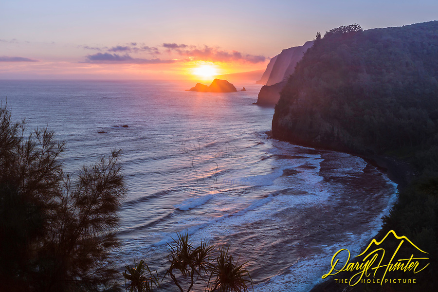 The Pololu Valley at sunrise, possibly the best sunrise spot on the Big Island of Hawaii.