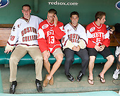 Jimmy Hayes (Boston College - player), Nick Bonino (Boston University - Alternate Captain), Joe Whitney (Boston College - player) and Dave Warsofsky (Boston University - player) in the Red Sox dugout. - A press conference hosted by the Hockey East Association, the Boston Red Sox and Fenway Sports Group was held on Thursday, August 20, 2009, at Fenway Park in Boston, MA, to announce that there would be a Hockey East college hockey doubleheader on Friday, January 8, 2010, held on the ice that will be used for the January 1, 2010 NHL Winter Classic.  The afternoon (4:00 pm EST) match will be between the Northeastern University Huskies (home team) and University of New Hampshire Wildcats women's teams while the evening (7:30 pm EST) match will be between the Boston College Eagles (home team) and the Boston University Terriers men's teams.