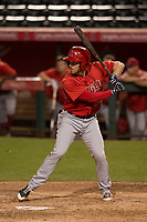 Los Angeles Angels shortstop Riley Unroe (62) during a Minor League Spring Training game against the Milwaukee Brewers at Tempe Diablo Stadium on March 29, 2018 in Tempe, Arizona. (Zachary Lucy/Four Seam Images)