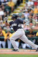 Third baseman Zelous Wheeler (98) of the New York Yankees during a spring training game against the Pittsburgh Pirates on February 26, 2014 at McKechnie Field in Bradenton, Florida.  Pittsburgh defeated New York 6-5.  (Mike Janes/Four Seam Images)