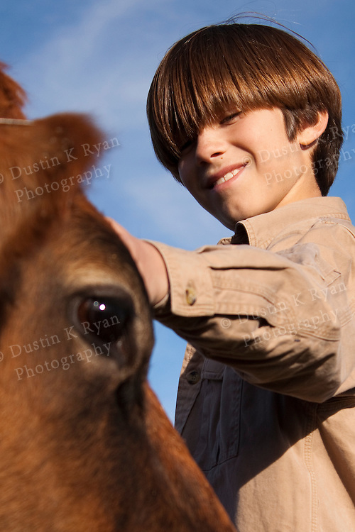 A boy reaches out and pets a brown cow on a farm pasture