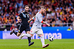 Sergio Ramos of Spain in action during the International Friendly 2018 match between Spain and Argentina at Wanda Metropolitano Stadium on 27 March 2018 in Madrid, Spain. Photo by Diego Souto / Power Sport Images