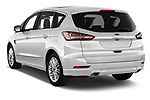 Car pictures of rear three quarter view of a 2018 Ford S-Max Vignale Base 5 Door Mini Van angular rear