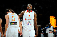 Expulsion de Rudy FERNANDEZ  / Serge IBAKA - 15.07.2012 - France / Espagne - Match de preparation JO 2012 -Paris..Photo : Amandine Noel / Icon Sport