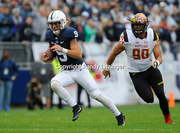 08 October 2016:  Penn State QB Trace McSorley (9) runs for a first down. The Penn State Nittany Lions defeated the Maryland Terrapins 38-14 at Beaver Stadium in State College, PA. (Photo by Randy Litzinger/Icon Sportswire)