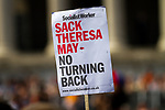 "© Joel Goodman - 07973 332324 - all rights reserved . 03/07/2010 . London , UK . A Socialist Workerl placard reading "" Sack Theresa May - no turning back "" in Trafalgar Square . Annual London Pride march and demonstration through the centre of London . Photo credit : Joel Goodman"