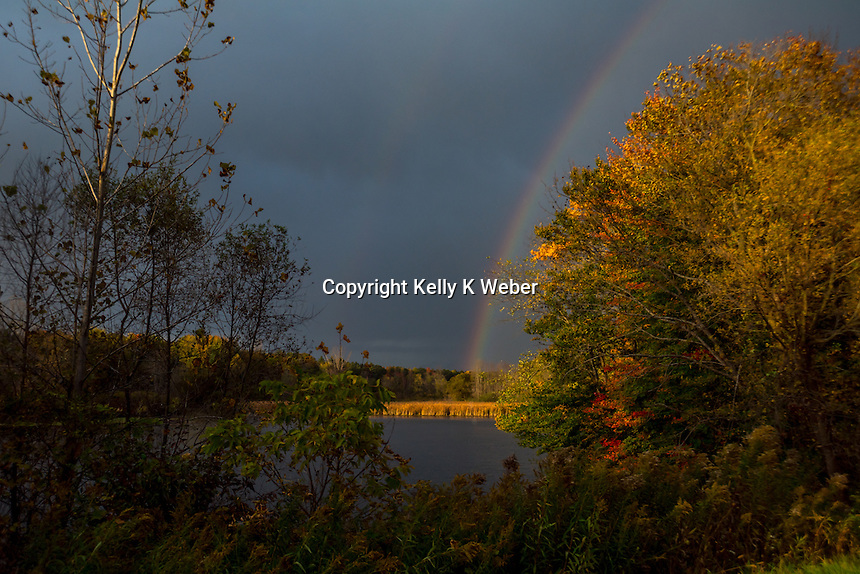 double rainbow over the Mill Pond in Bangor, MI