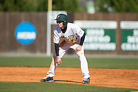 Hunter Jones (33) of the Charlotte 49ers takes his lead off of second base against the Louisiana Tech Bulldogs at Hayes Stadium on March 28, 2015 in Charlotte, North Carolina.  The 49ers defeated the Bulldogs 9-5 in game two of a double header.  (Brian Westerholt/Four Seam Images)