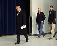 United States President Donald J. Trump, followed by US Senate Majority Leader Mitch McConnell (Republican of Kentucky) and Speaker of the US House Paul Ryan (Republican of Wisconsin) arrives to speak to the media at Camp David, the presidential retreat near Thurmont, Maryland after holding meetings with staff, members of his Cabinet and Republican members of Congress to discuss the Republican legislative agenda for 2018 on January 6, 2018.<br /> CAP/MPI/RS<br /> &copy;RS/MPI/Capital Pictures