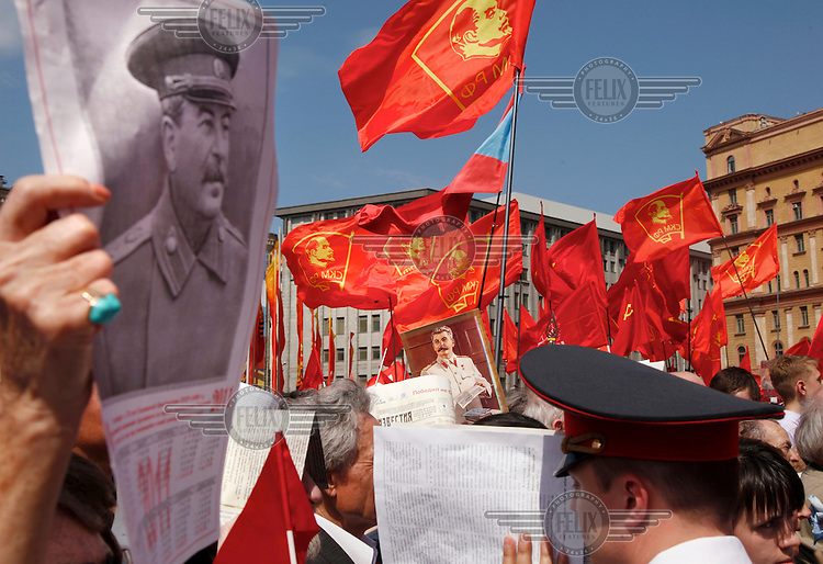 Communist supporters march in central Moscow on Victory Day with portraits of former Soviet dictator Joseph Stalin.