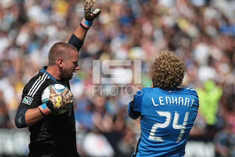 Los Angeles Galaxy goalkeeper Josh Saunders (12) after striking San Jose Earthquakes forward Steven Lenhart (24) to result in a red card. The San Jose Earthquakes tied the Los Angeles Galaxy 0-0 at Buck Shaw Stadium in Santa Clara, California on June 25th, 2011.