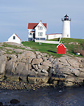 Cape Neddick Nubble lighthouse York Maine, Nubble Lighthouse, Nubble Light 1879 with 41 foot cast iron tower York Maine, New England region of northeatern United States, boardered by Atlantic Ocean to the east and south, Maine is the northermost and easternmorst portion of New England, jagged rocky coastline, rolling mountains, heavily forested interior picturesque waterways, seafood cuisine, lobster and clams, European settlement in Maine was 1604, 23rd state March 15 1820, Dirigo, Maine is The Pine Tree State, Maine Stock and Fine Art Photography.  All Rights Reserved RonBennettPhotography.com All Photographs for SALE.