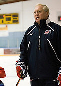 Dean Blais (USA - Head Coach) - Team USA practiced at the Agriplace rink on Monday, December 28, 2009, in Saskatoon, Saskatchewan, during the 2010 World Juniors tournament.