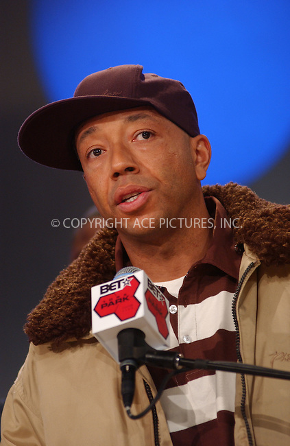 WWW.ACEPIXS.COM . . . . .....December 15 2005, New York City....RUSSELL SIMMONS....Celebrities turned out to support hip hop singer Foxy Brown as she addressed the issue of her hearing loss at BET Studios, Manhattan.........Please byline: Kristin Callahan - ACEPIXS.COM..... *** ***..Ace Pictures, Inc:  ..Philip Vaughan (212) 243-8787 or (646) 769 0430..e-mail: info@acepixs.com..web: http://www.acepixs.com