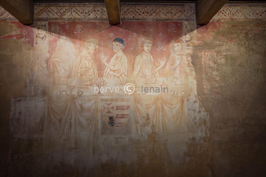 France, Aude (11), Villerouge-Termenès, le château de Villerouge-Termenès, fresque // France, Aude, Villerouge-Termenes, frescoes