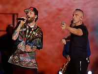 Lorenzo Jovanotti and Eros Ramazzotti performs during &quot;Pino &egrave;&quot; tribute concert at Pino Daniele, Italian singer dead in 2015,<br /> <br /> Naples 07 june 2018