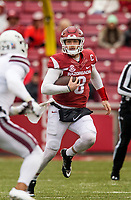 Hawgs Illustrated/BEN GOFF <br /> Austin Allen, Arkansas quarterback, runs the ball in the thrid quarter against Mississippi State Saturday, Nov. 18, 2017, at Reynolds Razorback Stadium in Fayetteville.