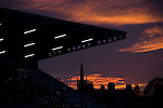 The main stand is silhouetted as the sun sets on Links Park. It was Edinburgh City's first Scottish League visit to Montrose since the club were promoted from the Lowland League the previous season. City won the match 1-0 to record their first league win of the season, captain Dougie Gair scoring the winner from the penalty spot in the 68th minute in a match watched by 388 spectators.