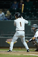 Mason McCoy (1) of the Frederick Keys at bat against the Winston-Salem Dash at BB&T Ballpark on April 26, 2019 in Winston-Salem, North Carolina. The Keys defeated the Warthogs 7-0. (Brian Westerholt/Four Seam Images)
