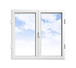 PVC window with blue sky behind isolated on white background