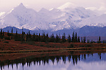 Snow covered mountain peaks during autumn in Denali National Park, Alaska.