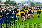 The Dr Crokes and South Kerry teams parade before the Senior County Football Final in Austin Stack Park on Sunday