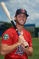 Elizabethton Twins Andrew Cosgrove (5) poses for a photo before a game against the Bristol Pirates on July 29, 2018 at Joe O'Brien Field in Elizabethton, Tennessee.  Bristol defeated Elizabethton 7-4.  (Mike Janes/Four Seam Images)