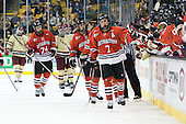 Vinny Saponari (Northeastern - 74), Braden Pimm (Northeastern - 14), Anthony Bitetto (Northeastern - 7) - The Boston College Eagles defeated the Northeastern University Huskies 7-1 in the opening round of the 2012 Beanpot on Monday, February 6, 2012, at TD Garden in Boston, Massachusetts.