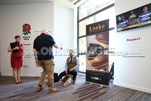 A general view inside the Loake Shoemakers set-up. The Clash, Aviva Premiership match, between Bath Rugby and Leicester Tigers on April 8, 2017 at Twickenham Stadium in London, England. Photo by: Rogan Thomson / JMP for Onside Images