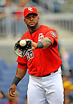 13 April 2008: Washington Nationals' outfielder Wily Mo Pena warms up prior to a game against the Atlanta Braves at Nationals Park, in Washington, DC. The Nationals ended their 9-game losing streak by defeating the Braves 5-4 in the last game of their 3-game series...Mandatory Photo Credit: Ed Wolfstein Photo