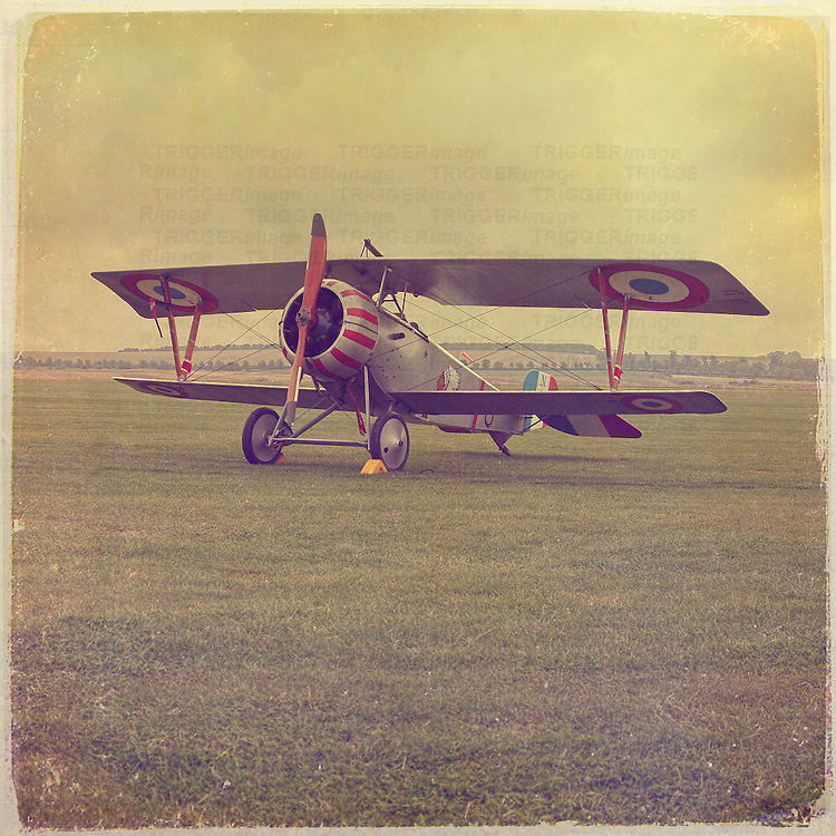 A Nieuport 17 three quarter view in an Aged style