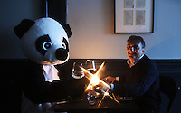 LONDON, ENGLAND - FEBRUARY 03:  To kick-start the worldÕs biggest celebration of our planet, Raymond Blanc OBE dines by candlelight with a symbolic panda to show his support for WWFÕs Earth Hour. The top chef and President of Food Made Good invites the nation to follow in his footsteps and dine by candlelight to celebrate Earth Hour at 8.30pm on 19th March. February 3, 2016 in London, England.  (Photo by Stuart C. Wilson/Getty Images for WWF-UK)