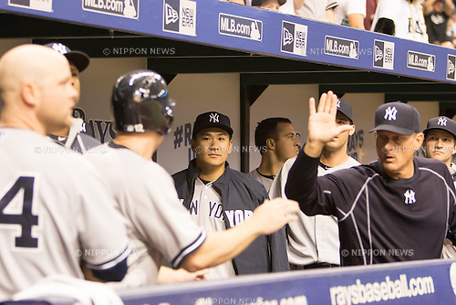 Masahiro Tanaka (Yankees),<br /> APRIL 18, 2015 - MLB : Masahiro Tanaka (C) of the New York Yankees is seen during a Major League Baseball game against the Tampa Bay Rays at Tropicana Field in Tampa, Florida, United States.<br /> (Photo by Thomas Anderson/AFLO) (JAPANESE NEWSPAPER OUT)