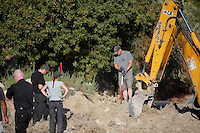Pictured: A digger assists with the preliminary search at the new site in Kos, Greece. Friday 07 October 2016<br />Re: Police teams led by South Yorkshire Police, searching for missing toddler Ben Needham on the Greek island of Kos have moved to a new area in the field they are searching.<br />Ben, from Sheffield, was 21 months old when he disappeared on 24 July 1991 during a family holiday.<br />Digging has begun at a new site after a fresh line of inquiry suggested he could have been crushed by a digger.