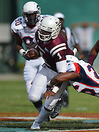 September 7, 2013  (Washington, DC)  Jordan Tarver QB #1 of Morehouse opts to run the ball during a play in the first half of the 2013 AT&T Nations Football Classic  (Photo by Don Baxter/Media Images International)
